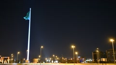 Jeddah Flagpole -Saudi Arabia - National Day - Flag - Timelapse - Tallest Flag Stock Footage
