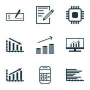 Set Of 9 Universal Editable Icons. Can Be Used For Web, Mobile And App Design Stock Illustration