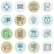 Set Of Project Management Icons On Present Badge, Collaboration And Opportuni Stock Illustration