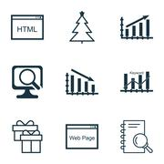 Set Of 9 Universal Editable Icons. Can Be Used For Web, Mobile And App Design Piirros