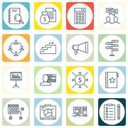 Set Of Project Management Icons On Money, Computer And Growth Topics. Editabl Stock Illustration