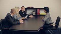 Woman at Job Interview in Office Stock Footage
