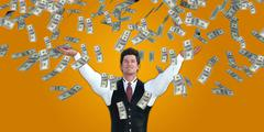 Corporate Business Man Catching Money Falling From the Sky Stock Illustration
