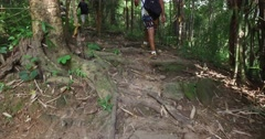 4k - pov of indian male hiking Stock Footage