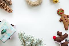 Flat view of Christmas decoration, copyspace in the middle Stock Photos