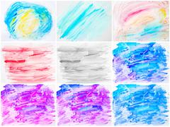 Collage of abstract water color textured backgrounds Stock Photos