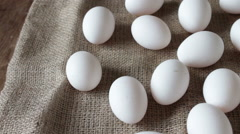 Fresh raw white eggs Stock Footage