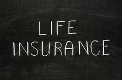 Life insurance message handwritten on the blackboard Stock Photos