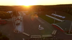 Amazing sunset over the sport center, lens flare Stock Footage