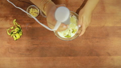 Yogurt soup in colors mixer Stock Footage
