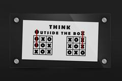 Tic tac toe and words think outside the box Stock Illustration