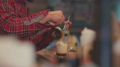 Preparation of coffee-based beverage. Mokkachino to go Stock Footage