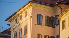 Buildings of different colours in Old Town of Ljubljana Stock Footage