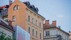Old buildings in Ljubljana downtown Stock Footage
