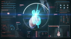 Businessman touching digital screen, scanning internal organs, Digestion system Stock Footage