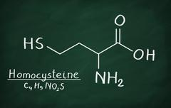 Chemical formula of Homocysteine on a blackboard Stock Photos