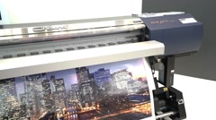 CMYK Roland Soljet plotter printing in typography Stock Footage