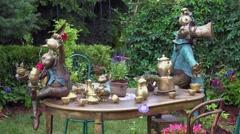 Background of garden design fountain Stock Footage
