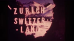 1976: the name of land is shown with the scene in the background ZURICH Stock Footage