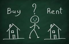 The character thinking what to choose, buy house or rent? Stock Photos