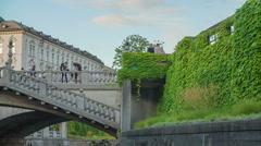 Beautiful bridge in downtown Ljubljana Stock Footage