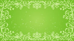 Growing floral frame and Glitter animation - Green color Stock Footage