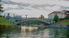One of the three main bridges in the evening time Stock Footage