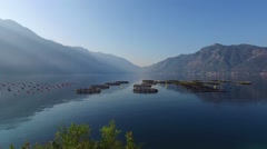 Fish farming cage systems in Montenegro Stock Footage