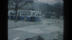 1976: travelling past streetcars in the snow. ZURICH SWITZERLAND Stock Footage
