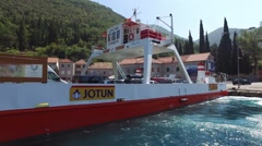 Ferryboat crossing Kamenari-Lepetane in Montenegro Stock Footage