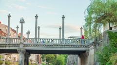 One of the three main bridges in Ljubljana, Slovenia Stock Footage