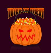 Pumpkin basket for Halloween. Trick or treat. Corn candy for terrible holiday Stock Illustration