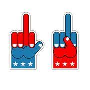 Foam finger fuck. USA Patriotic sign. Symbol of aggression and anger. Hand sh Stock Illustration
