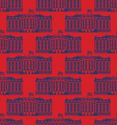 White House America seamless pattern. US President Residence. Government buil Stock Illustration