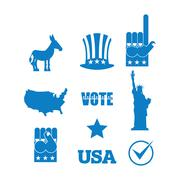 Democrat donkey election icon set. Symbols of political parties in America. S Stock Illustration