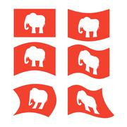 Elephant Flag. Republican National flag of presidential election in America.  Stock Illustration