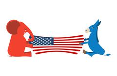 Elephant and Donkey divide USA flag. Political Party of America. Republicans  Stock Illustration
