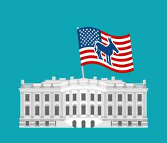 Democrat win White House. Flag blue donkey. Political presidential elections  Stock Illustration