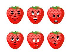 Strawberry emotions set. Red berry evil and good. harvest asleep and surprise Stock Illustration