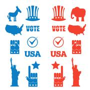 American Elections icon set. Republican elephant and Democratic donkey. Symbo Stock Illustration