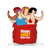 Prostitute in red sack of Santa Claus. Happy Adult New Year. Whore for presen Stock Illustration