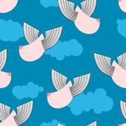 Boobs with wings flying pattern. Flying tit background. Sorority ornament. Fe Stock Illustration