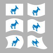 Donkey Flag. Democrat National flag of presidential election in America. Stat Stock Illustration