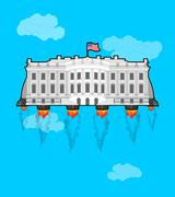 White house Flying with rocket turbo. USA President Residence in space. Amer Stock Illustration