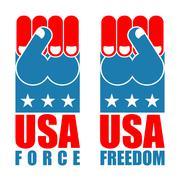 USA force hand. American freedom fist. US national symbol. United States free Stock Illustration