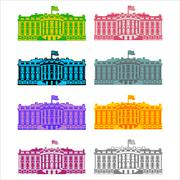 White House America colored icon set. Residence of President USA. US governme Stock Illustration