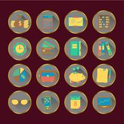 Bookkeeping vector flat icons Stock Illustration