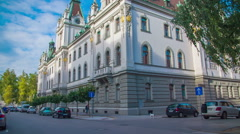 Outstanding architecture of the University of Ljubljana main building Stock Footage