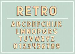 Retro fonts and abc letters print typography vector Illustration. Stock Illustration