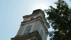 Look from below at high tower of the church Stock Footage